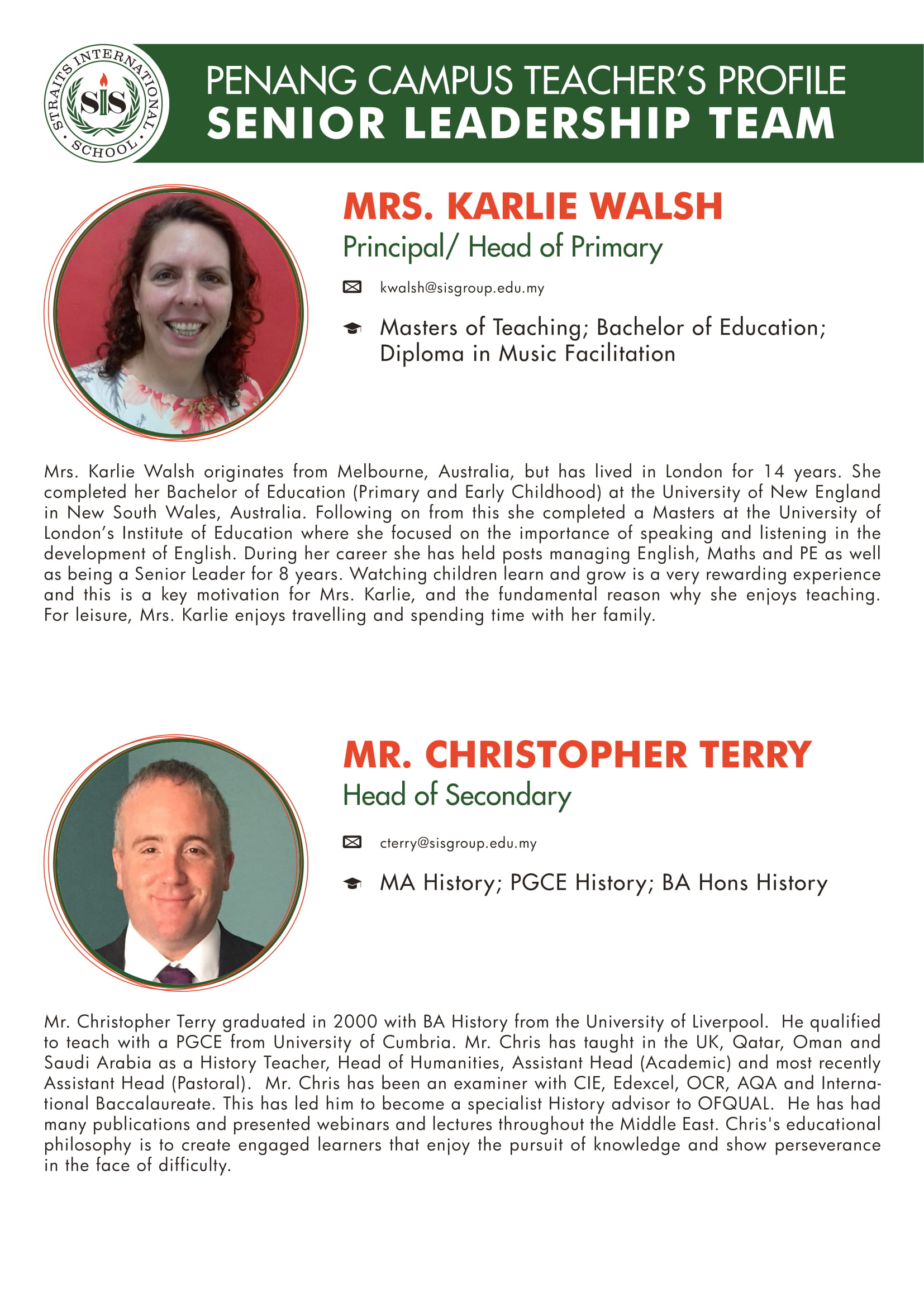 Mrs. Karlie Walsh and Mr. Christopher Terry teacher profile