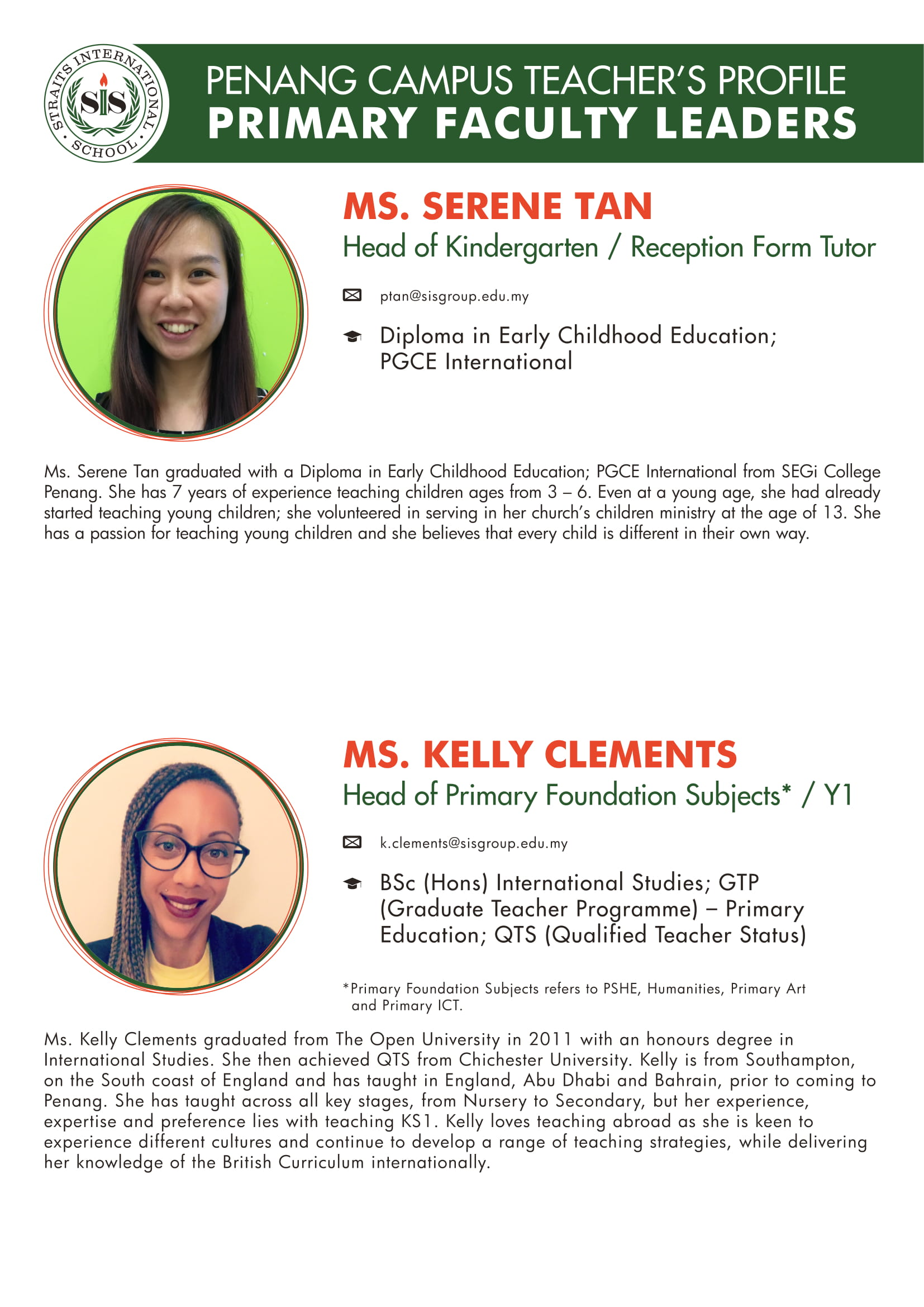 Ms. Serene Tan and Ms. Kelly Clements teacher profile