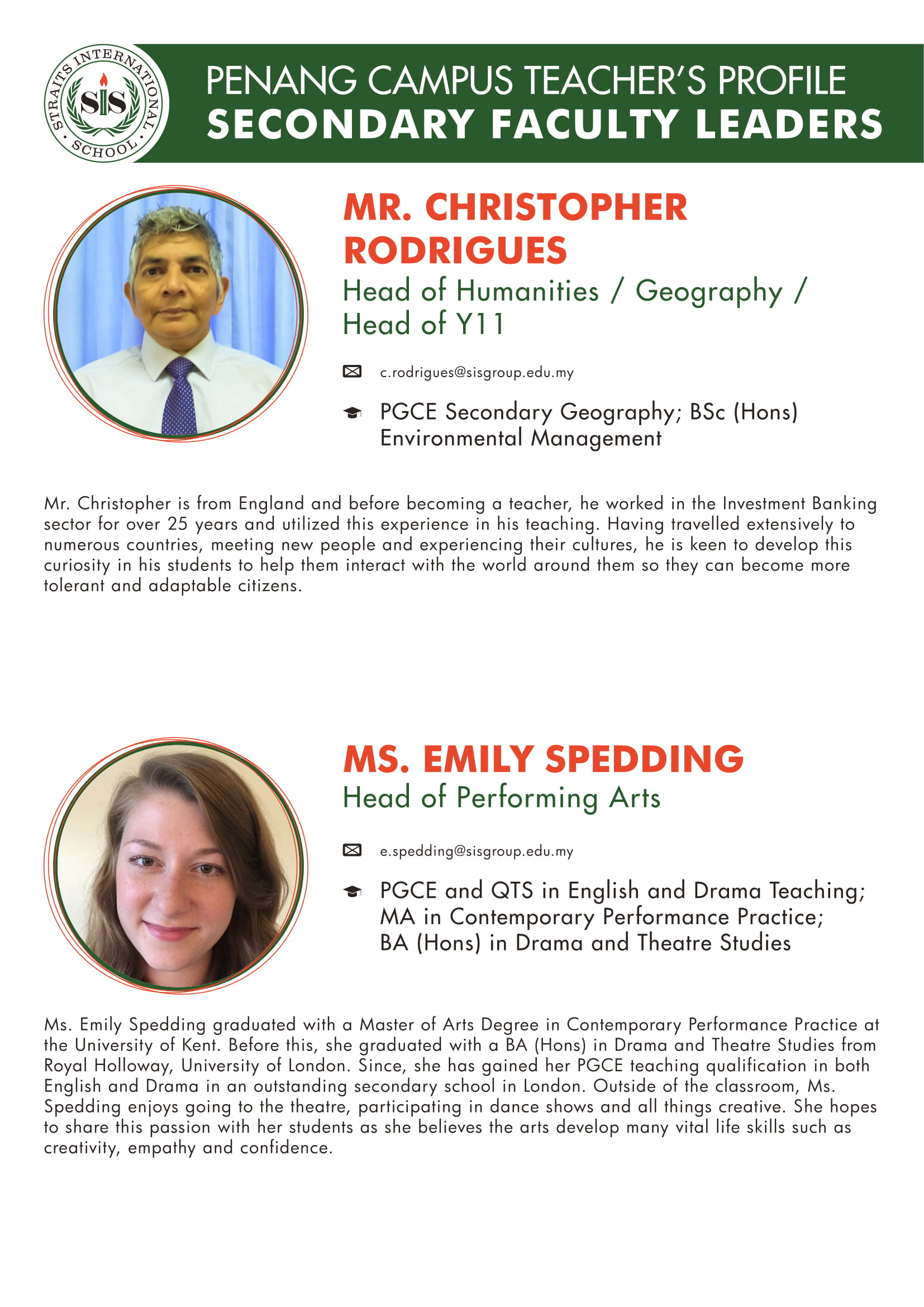 Mr. Christopher Rodrigues and Ms. Emily Spedding teacher profile
