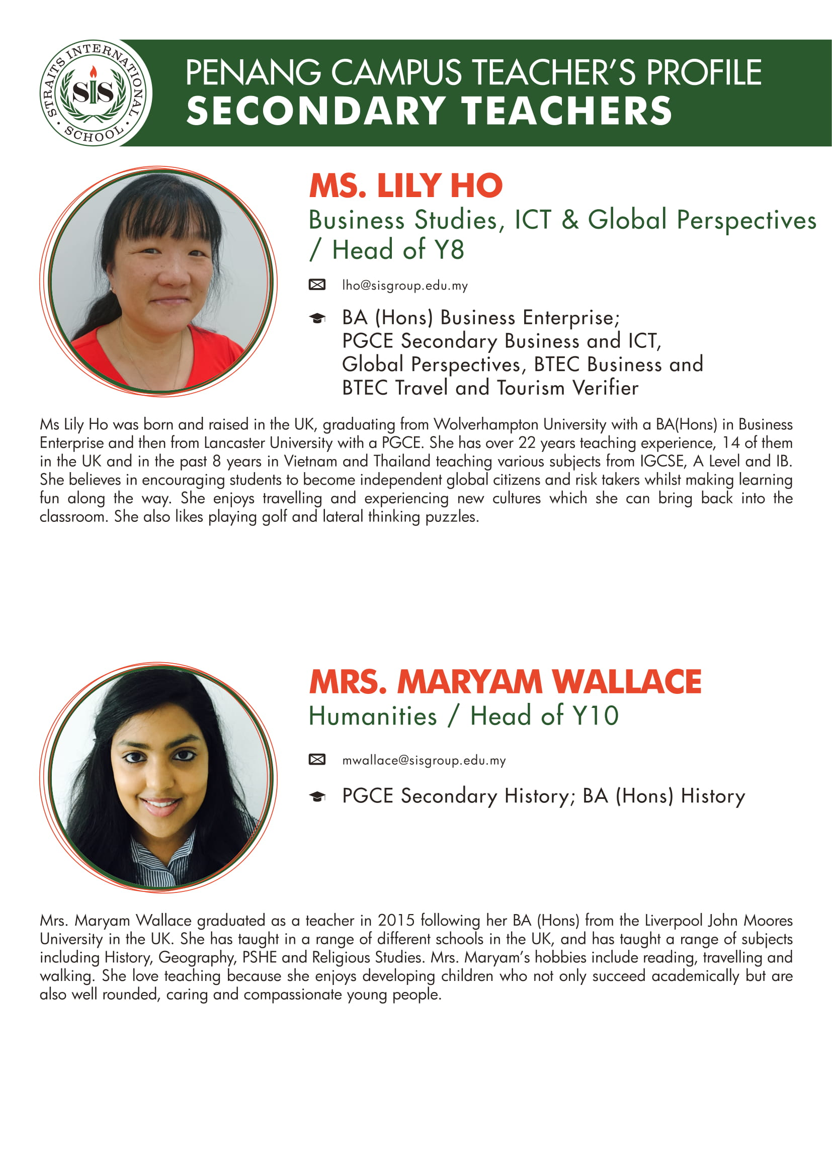 Ms. Lily Ho and Mrs. Maryam Wallace teacher profile
