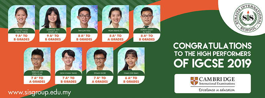 IGCSE 2019 high performers students from Penang Straits International School